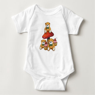Teddy Bears,Toadstool, Cupcakes, Original Art Baby Bodysuit