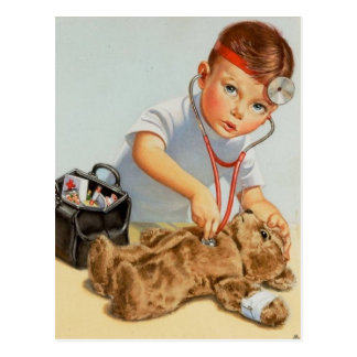 Teddy Checkup - Cute Vintage Art Get Well Soon Postcard