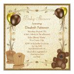 Teddy & Crib Vintage Brown & Gold Baby Shower 13 Cm X 13 Cm Square Invitation Card