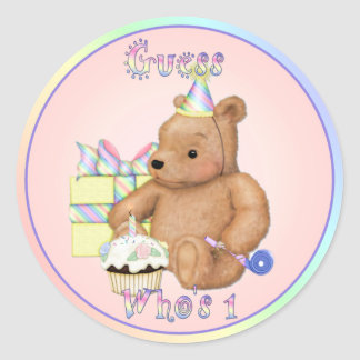 Teddy Cupcake First Birthday Classic Round Sticker