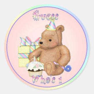 Teddy Cupcake First Birthday Round Sticker