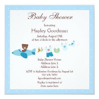 Teddy in Plane & Clothesline Blue Baby Shower 13 Cm X 13 Cm Square Invitation Card