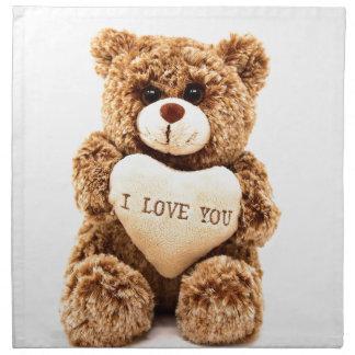 Teddy Love Valentine's Day Greeting Card Soft Toy Napkin
