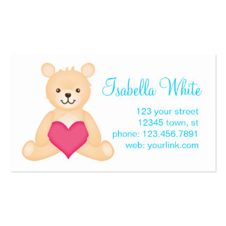Teddy Mommy Calling Card (Blue) Business Card Template