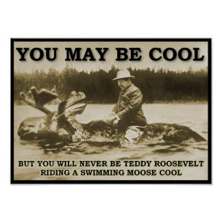 Teddy on a Moose Funny Poster