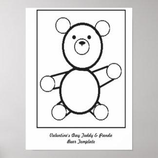 Teddy & Panda Bear Template Poster