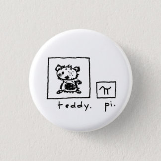 teddy + pi 3 cm round badge