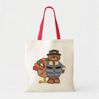 Teddy Pilgrim And Turkey Tote Bags