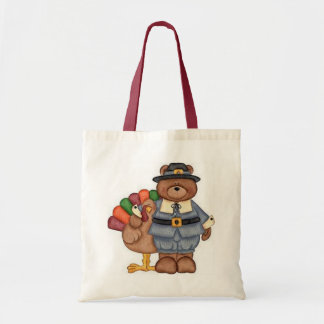 Teddy Pilgrim And Turkey Tote Bags