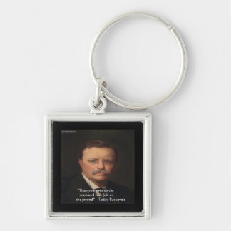 "Teddy Roosevelt ""Feet On Ground"" Wisdom Quote Gift Key Ring"