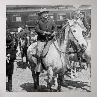 Teddy Roosevelt on Horseback in Yellowstone Poster