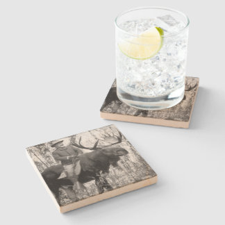 Teddy Roosevelt Riding A Bull Moose Stone Coaster