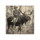 Teddy Roosevelt Riding A Bull Moose Wood Print