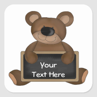 Teddy Teacher (chalkboard customizable) Square Sticker