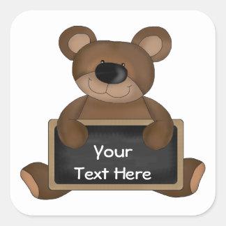 Teddy Teacher (chalkboard customizable) Square Sticker