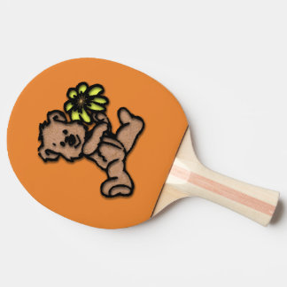 Teddy with Yellow Flower Ping Pong Paddle