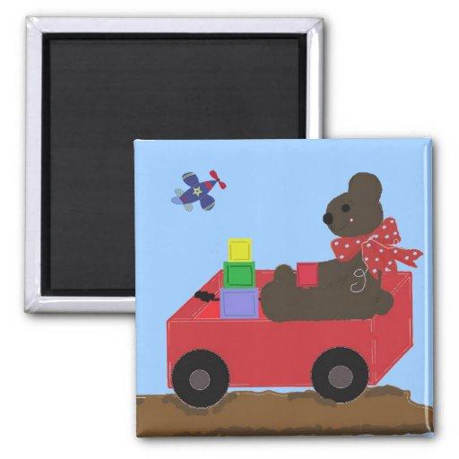 Teddybear in a Red Wagon Magnet