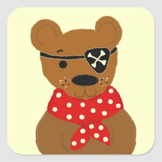 Teddybear Pirate Square Sticker