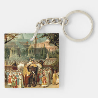 TEE Around the World Double-Sided Square Acrylic Key Ring