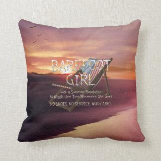 TEE Barefoot Girl Throw Pillow