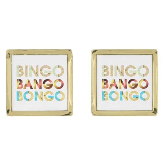 TEE Bingo Bango Bongo Gold Finish Cuff Links