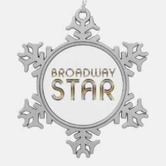 TEE Broadway Star Snowflake Pewter Christmas Ornament
