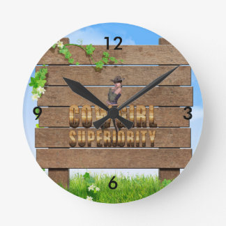 TEE Cowgirl Superiority Round Clock
