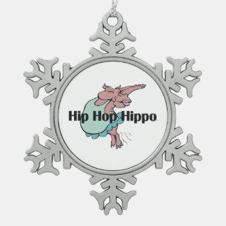 TEE Hip Hop Hippo Pewter Snowflake Decoration