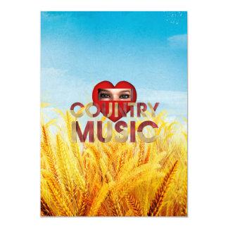 TEE I Love Country Music 13 Cm X 18 Cm Invitation Card