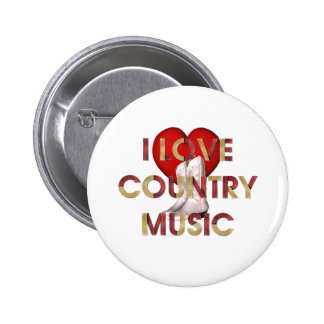 TEE I Love Country Music Pinback Button