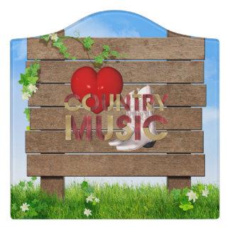 TEE I Love Country Music Door Sign