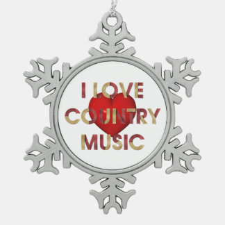 TEE I Love Country Music Pewter Snowflake Decoration