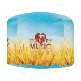 TEE I Love Country Music Round Pouffe