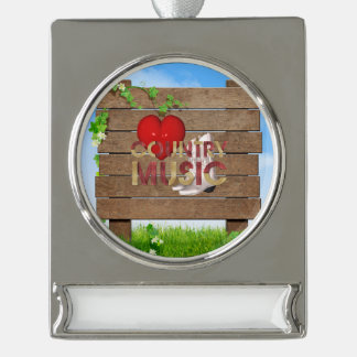 TEE I Love Country Music Silver Plated Banner Ornament