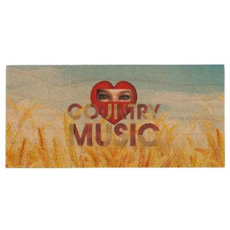 TEE I Love Country Music Wood USB 2.0 Flash Drive