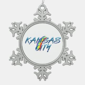 TEE Kansas City Snowflake Pewter Christmas Ornament