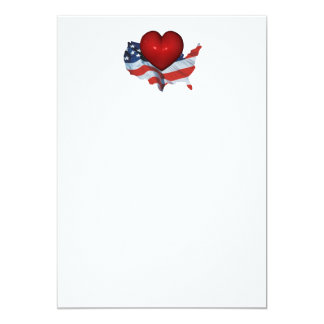 TEE Love My Country 5x7 Paper Invitation Card