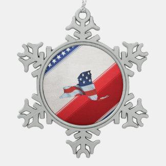 TEE New York Patriot Snowflake Pewter Christmas Ornament