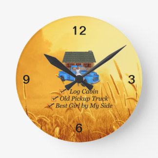 TEE Pickup Slogan Round Clock