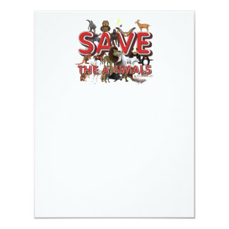TEE Save The Animals 11 Cm X 14 Cm Invitation Card