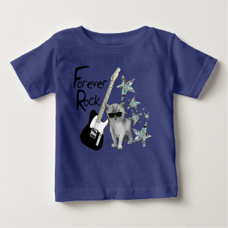 """Tee-shirt blue baby """"Forever rock'n'roll"""", cat, Baby T-Shirt"""