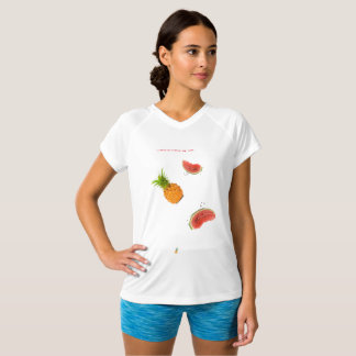 Tee-shirt printed collar V white fruits T-Shirt