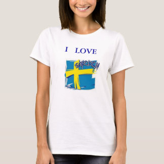 TEE SHIRT SWEDEN FLAG  BLUE AND YELLOW I LOVE