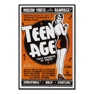 TEEN AGE MOVIE LOBBY AD 1943 POSTER