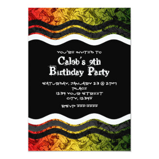 Teen Boy Red Yellow Green Smoke Party Invitations