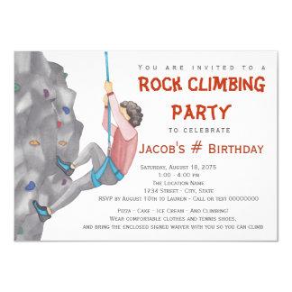 Teen Boy Rock Climbing Birthday Party Invitations