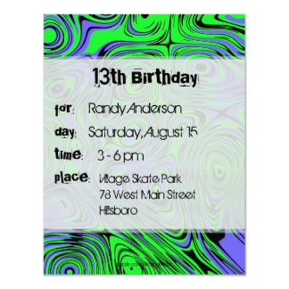 Teen Boys Birthday Party Invitations, Green Card