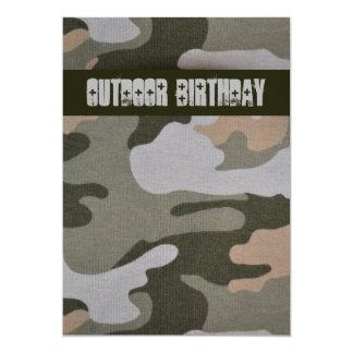 Teen Boys Outdoor Camo Birthday Party Card
