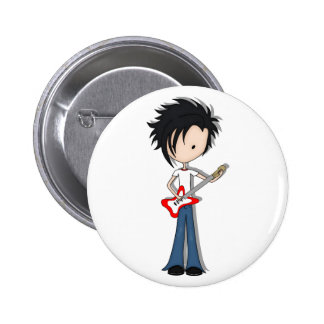 Teen Emo Boy Rock Guitarist with Black Hair 6 Cm Round Badge