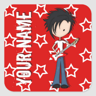 Teen Emo Boy Rock Guitarist with Black Hair Square Stickers